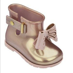 Mini Melissa toddler rain boots pink gold new